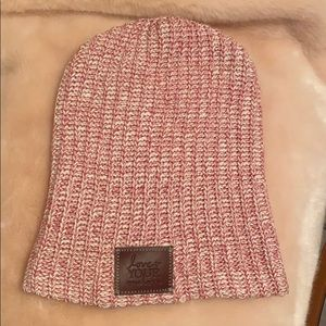 Pink and white Love your melon Beanie